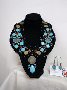 Handmade Black Neck Collar And Turquoise Earrings