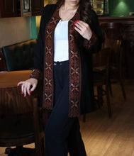 Amazing Coverup Razan Palestinian Jacket With Stylish Brown Embroidery Long Sleeves