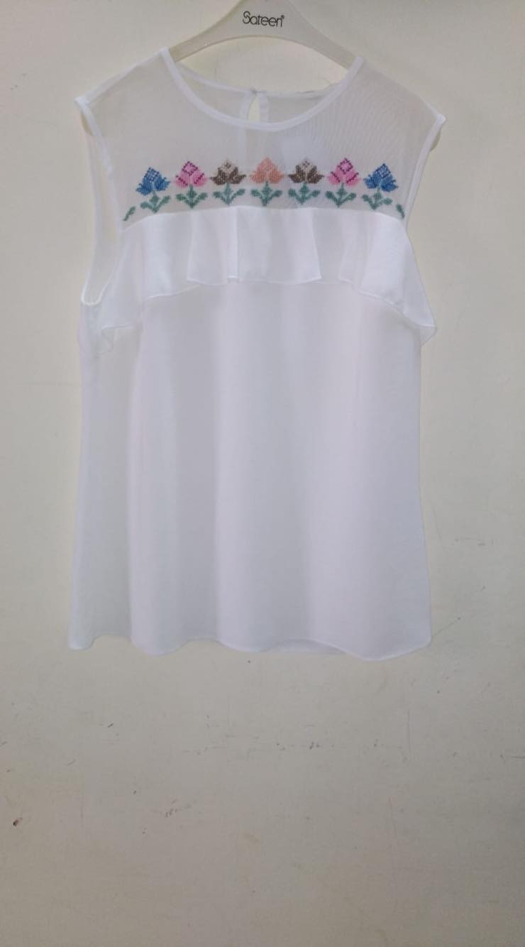 Hand embroidered sleeveless white top - Falastini Brand