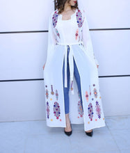 White Georgette Embroidered Open Abaya Kaftan Maxi Dress Long Split Sleeve