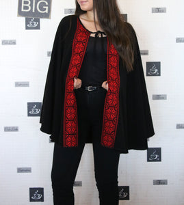 Black open cape (poncho) with red embroidery - Falastini Brand