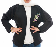 Black light jacket from original Hibr fabric with hand embroidery - Falastini Brand