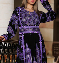Manajil Samer Palestinian Embroidered Purple Thobe Maxi Dress Long Sleeves Kaftan Palestinian Embroidery