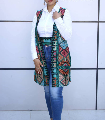 Amazing Two Third Full Rainbow Embroidered Palestinian Vest