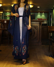 Navy Georgette Nol Embroidered Open Abaya Kaftan Maxi Dress Long Split Sleeve