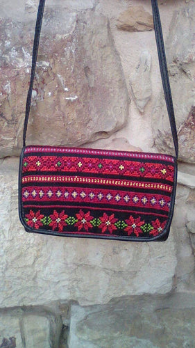 Embroidered black handbag with red embroidery - Falastini Brand