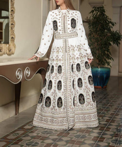 White Abaleeq Embroidered Thobe Maxi Dress Long Sleeve Kaftan