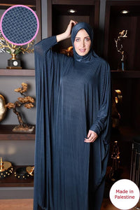 Free Size Navy Mix Prayer Dress Hijab Scarf Islamic Abaya Lycra Soft Prayer Clothes