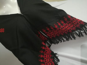 Black shawl with red embroidery - Falastini Brand