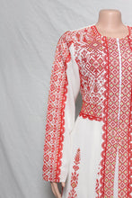Royal dress (thobe) white maxi dress Abaya Caftan with Palestinian red embroidery