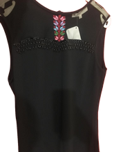 Hand embroidered sleeveless black blouse - Falastini Brand