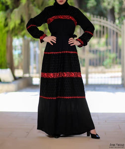 Embroidered Lines Charming Palestinian Abaya