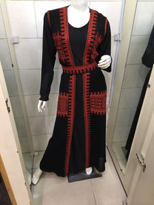 Long black vest with red embroidery - Falastini Brand
