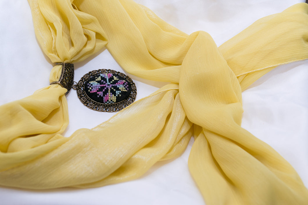 Yellow scarf with embroidered pendant - Falastini Brand