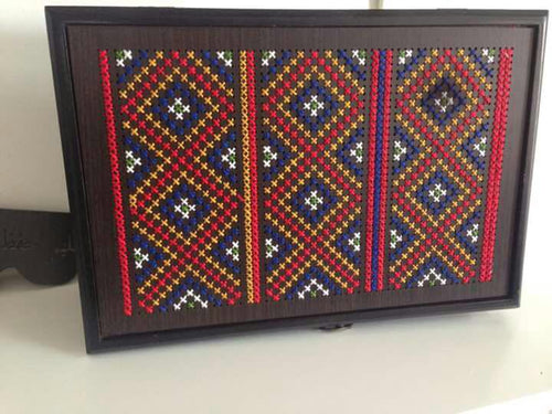 Wooden embroidered box - Falastini Brand