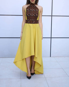 Breathtaking One Piece Yellow Palestinian Special Style Short Front Sleeveless Dress With Brown Amazing Embroidery