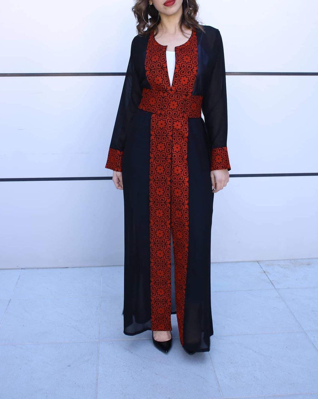 Black and Red Georgette Embroidered Open Abaya Kaftan Maxi Dress Long Sleeve