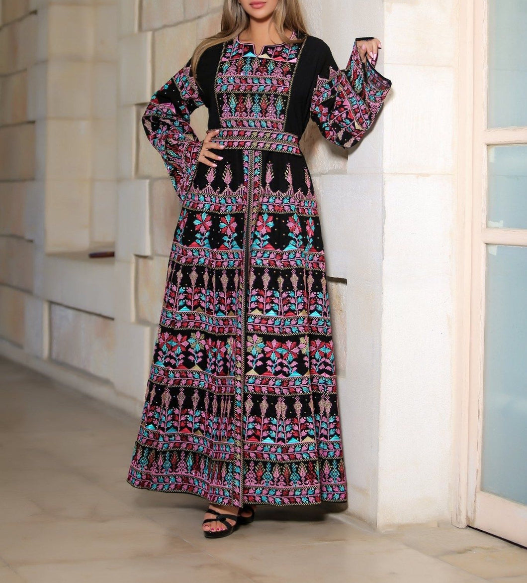 Version 2.6 Queen Thobe Embroidered Palestinian Maxi Dress Long Sleeves Kaftan Palestinian Design And Embroidery