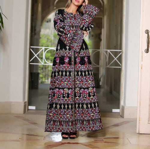 Version 2.1 Queen Thobe Embroidered Palestinian Maxi Dress Long Sleeves Kaftan Palestinian Design And Embroidery