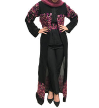 Light Black & Pink Embroidered Long Kimono/Abaya With Belt