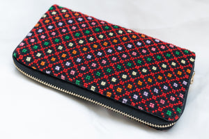 Embroidered wallet with colored dots - Falastini Brand