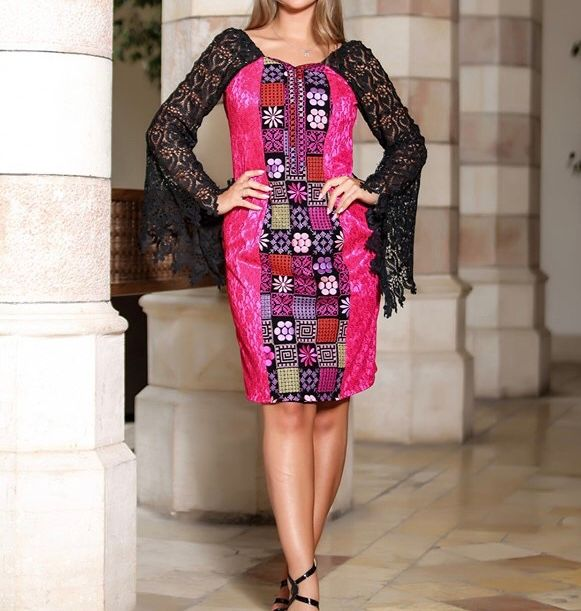 Violet Dantel Long Sleeve Palestinian Embroidered Short Dress