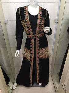 Long black vest with embroidery - Falastini Brand