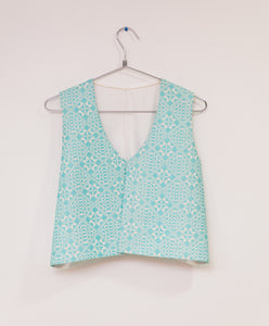 Embroiderd white and turquoise opened vest - Falastini Brand