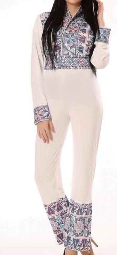 White chic embroidered jumpsuit