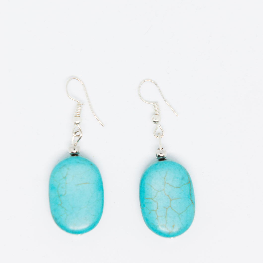 Handmade turquoise beads earrings - Falastini Brand