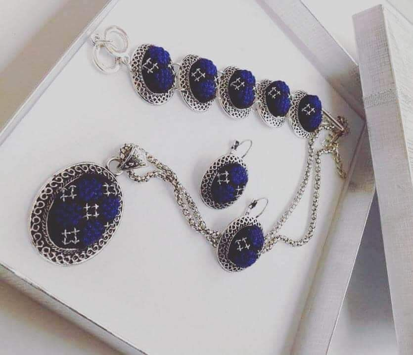 Jewelry set dark blue embroidery on silver colored necklace, bracelet and earrings set - Falastini Brand