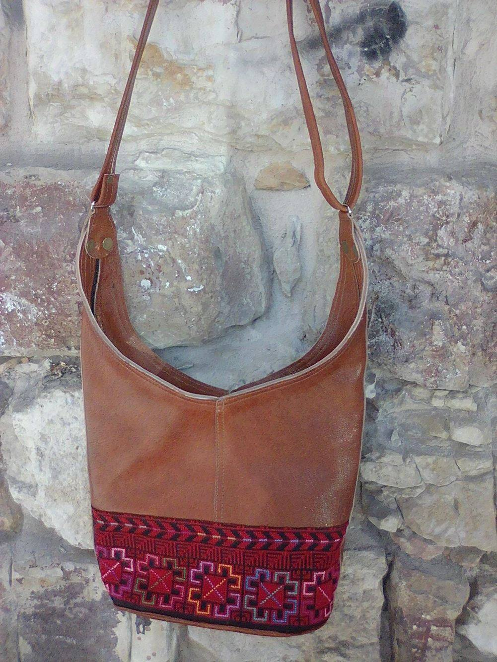 Leather camel hobo handbag with red embroidery - Falastini Brand