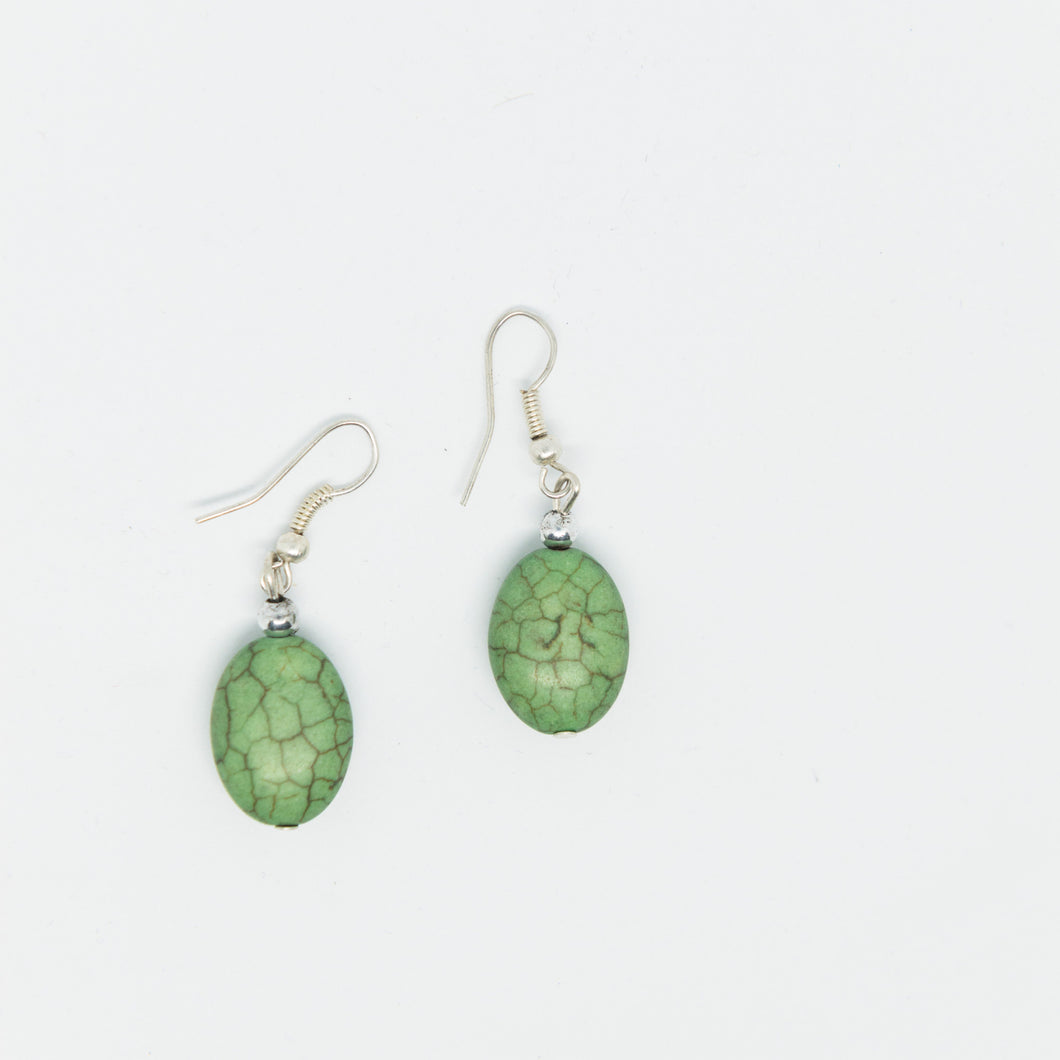 Handmade special green beads earrings - Falastini Brand