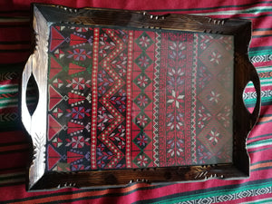 Wooden embroidered tray - Falastini Brand