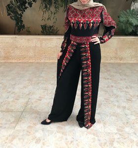 Stylish Black and Red Palestinian Embroidered Jumpsuit Long Sleeve