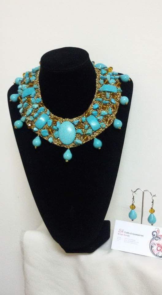 Handmade Turquoise Neck Collar And Earrings With Golden Crochet
