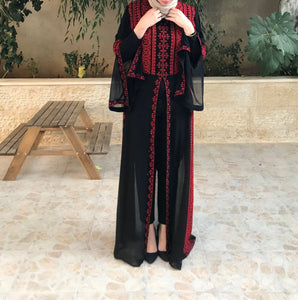 Red Embroidered Palestinian Half Open Abaya Slit Sleeve