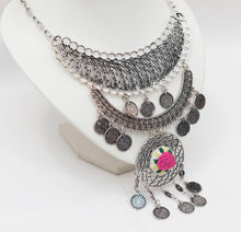 Boho style silver necklace with Brazelian embroidery - Falastini Brand