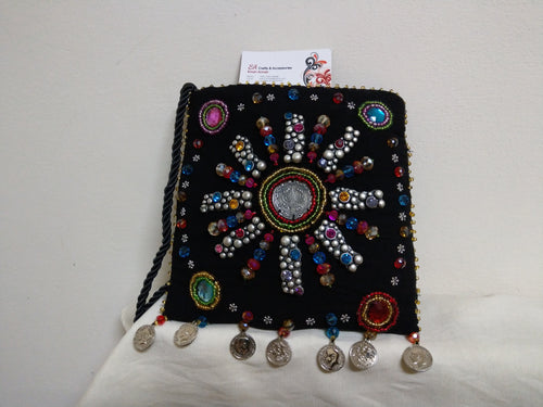 Handmade black textile Boho style handbag with crystals and colored beads - Falastini Brand
