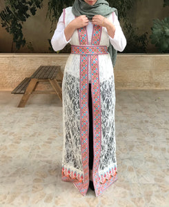White Dantel Embroidered Palestinian Sleeveless Abaya