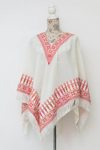 White cape with red embroidery - Falastini Brand