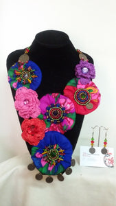 Handmade crochet necklace and earrings set - Falastini Brand