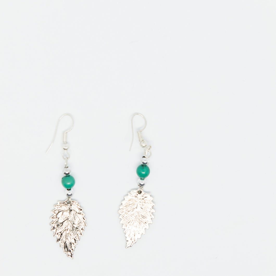 Handmade sliver leaf earrings with green beads - Falastini Brand