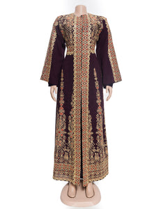 The princess dress - Two pieces embroidered dark mauve and golden dress