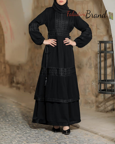 Soft Legendary Palestinian Embroidered Ruffled Abaya Black Embroidery