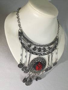 Boho style necklace with embroidered pendant - Falastini Brand
