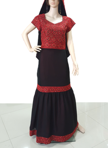 Black dress and shawl with red embroidery - Falastini Brand