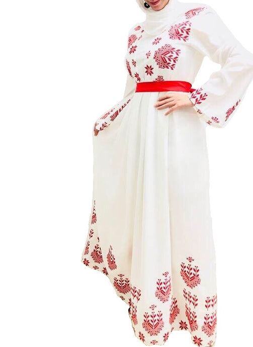 White embroidered dress with red embroidery