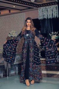 Distinctive Navy Palestinian Embroidered Colorful Open Chiffon 180 Colors Abaya Slit Sleeve