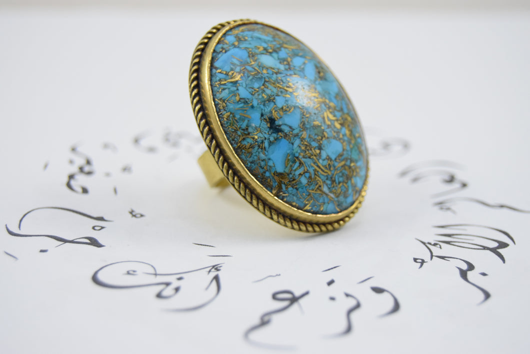 Precious - Turquoise Howlite and handmade copper ring (re-sizable) - Falastini Brand